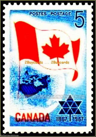 Canada Flag 1967 Canadian Confederation Fv Face 5 Cent Stamp photo