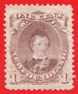 No Gum 1c Brown - Purple Stamp 1871 Newfoundland Prince Of Wales Die Ii photo
