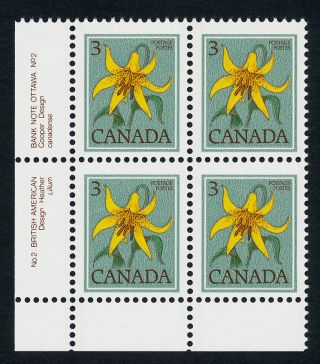 Canada 783 Bl Block Plate 2 Flower,  Canada Lily photo