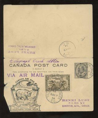 Canada 1934 First Flight Bear Illust.  Ke7 Reply Stationery. .  Telegraph Creek Atlin photo