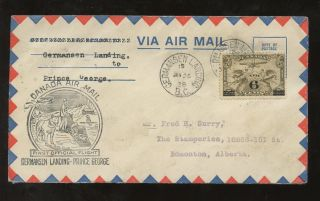 Canada 1938 First Flight Germansen Landing To Prince George. . .  Sled + Dog Illust. photo