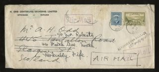 Canada 1948 Air To Scotland 15c + 15c Lost In Transit. . .  Returned For Postage photo
