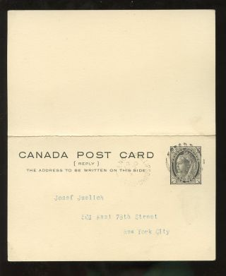 Canada Qv Stationery Complete Reply Paid Card Maple Leaf 1c Black photo