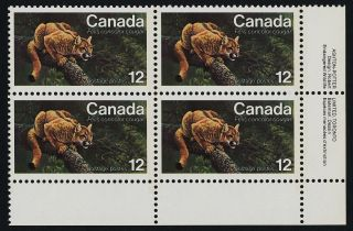 Canada 732 Br Plate Block Eastern Cougar photo