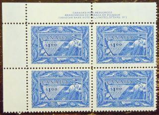 Canada Sc 302,  Plate Block Of 4 O.  G.  Xfnh Cv$225 (4 Photos) photo