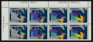 Canada 893a Tl Plate Block Maps,  Canada Day photo