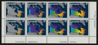 Canada 893a Br Plate Block Maps,  Canada Day photo