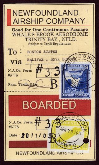Newfoundland Airship Boarding Pass,  Five Nac (5) Zeppelin Labels,  April 2011 photo