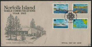 Norfolk Island 319 - 22 Fdc World Communication Year,  Ship,  Map,  Under Sea Cable photo