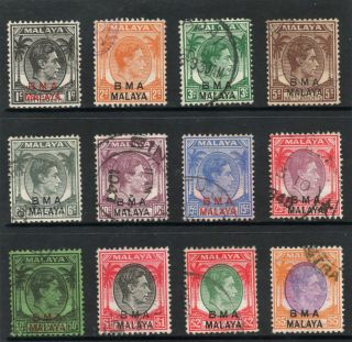 Malaya Straits Settlements 1945 Kg Vi Bma Blue & Black To High Value $5.  00 photo