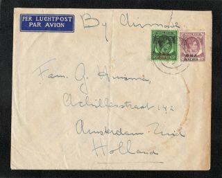 Malaya Straits Settlements 1945 Kg Vi Bma Cover To Holland Cds Postmark photo