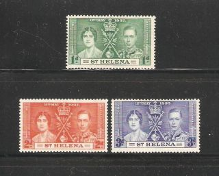 St Helena 1937,  Coronation,  Sc 115 - 117,  Vf Mlh Og photo