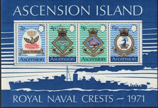 Ascension Is 1971 Naval Crests Mini Sheet Unmounted Sg3.  Ms153 Ref:aa218 photo