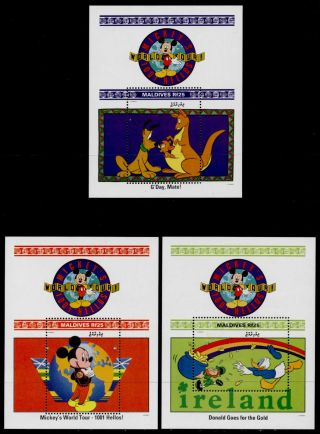 Maldives 1654 - 5a Disney,  Mickey ' S World Tour,  Map photo