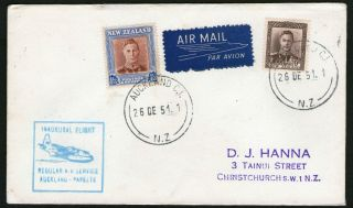 Airmail Cover Zealand To Papeete Inaugural Flight 9d & 1/3d Kgvi photo