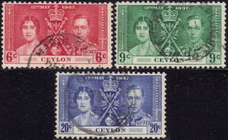 Ceylon 1937 Corination Sg 383 - 5 photo