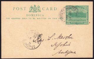 Dominica 1910 1/2d Pre - Paid Pc Gen Post Office 17 Apr 1910 photo