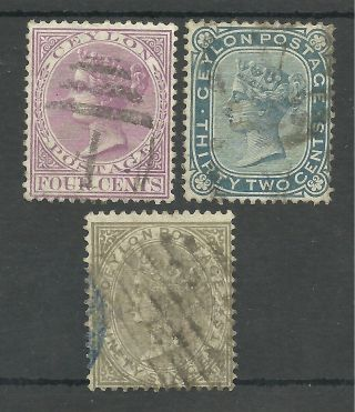 Ceylon Sg123,  128&132 1872 - 80 Good To Fine Cat £45.  50 photo