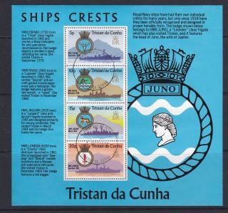 Tristan Da Cunha 1977 Rn Ships Crests Souvenir Sheetlet Cto Fdi photo