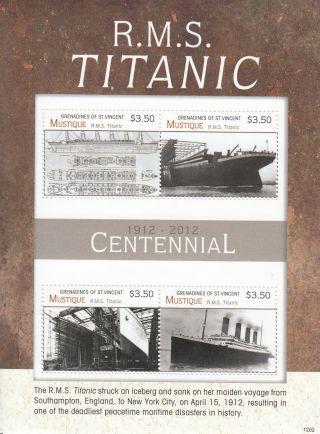 Mustique Grenadines St Vincent 2012 Titanic Centennial 4v Sheetlet 1912 Rms photo