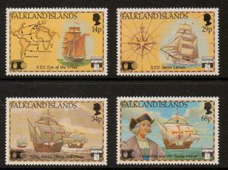 Falkland Islands Sg643/6 1991 500th Anniv Of Discovery Of America photo