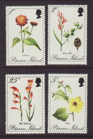 Pitcairn Island Flowers 110 - 113 Vf (12949) photo