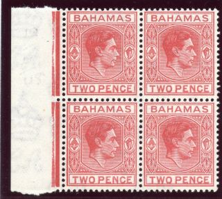 Bahamas 1938 Kgvi 2d Dull Rose - Red Block Of Four.  Sg 152bc. photo