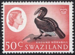 Swaziland - Sg 103 - 1962 - 66 - 50c.  Black And Rose - Red - Never Hinged photo