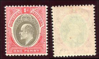 Southern Nigeria 1904 Kevii 1d Grey - Black & Carmine Mlh.  Sg 22.  Sc 22. photo