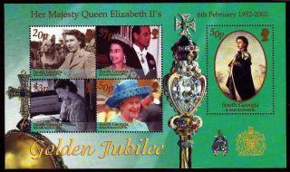 South Georgia & South Sandwich Is 2002 Hm Queen Golden Jubilee Mini Sheet U/m photo