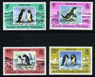 British Antarctic Territory 1979 Penguins Sg 89 - 92 Unmounted photo