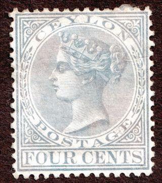 Ceylon Sc 64 (sg122) 4¢ Qv Grey F - Vf Hinged 1872 - 80 Perf 14 photo