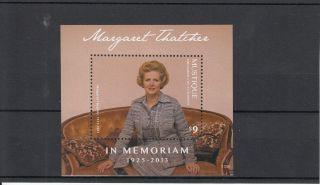 Mustique Grenadines St Vincent 2013 Margaret Thatcher In Memoriam 1v S/s photo