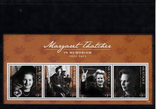 Mustique Grenadines St Vincent 2013 Margaret Thatcher In Memoriam 4v Sheet photo