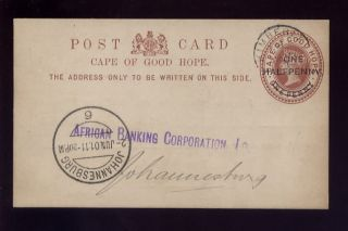 Cape Of Good Hope 1901 Qv Stationery African Banking photo