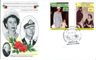 St Vincent Union Isl 1987 Queen 40th Wedding Anniversary 15c 45c First Day Cover photo