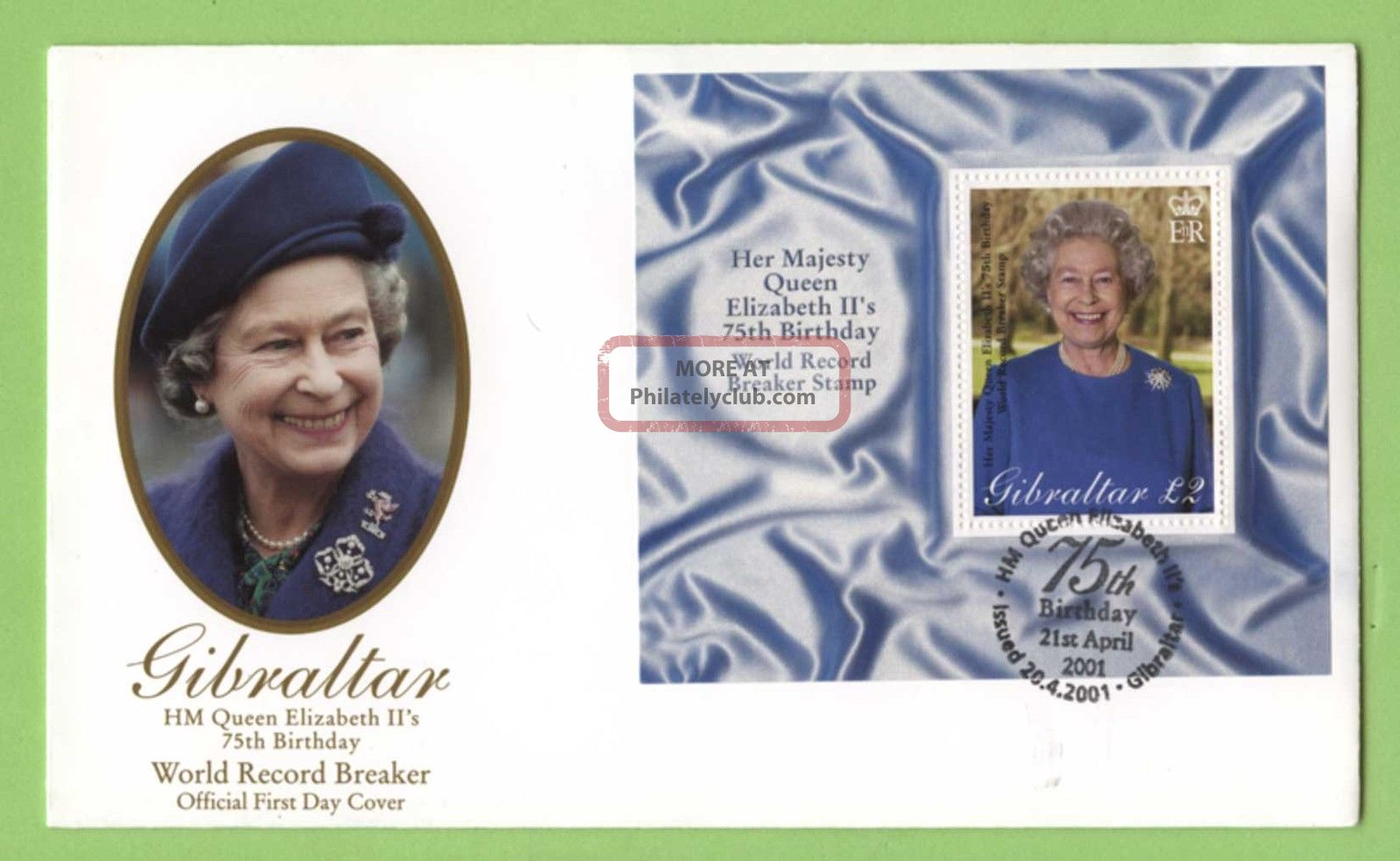 Gibraltar 2001 Qeii 75th Birthday Miniature Sheet On First Day Cover British Colonies & Territories photo