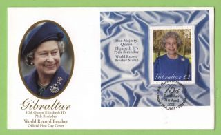 Gibraltar 2001 Qeii 75th Birthday Miniature Sheet On First Day Cover photo