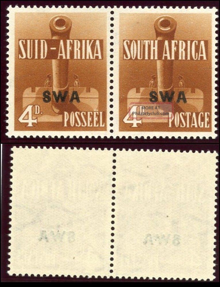 South West Africa 1941 Kgvi 4d Orange - Brown Bilingual Pair.  Sg 118.  Sc 140. British Colonies & Territories photo