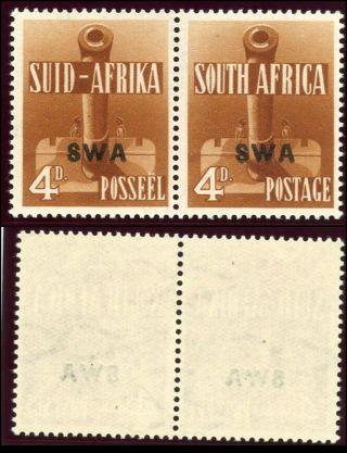 South West Africa 1941 Kgvi 4d Orange - Brown Bilingual Pair.  Sg 118.  Sc 140. photo