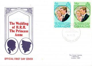 Gibraltar 14 November 1973 Royal Wedding First Day Cover Shs photo