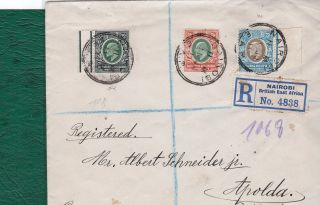 Kut.  1907/8 High Values On Plain Cover.  Sg40/42.  Postally To Germany. photo