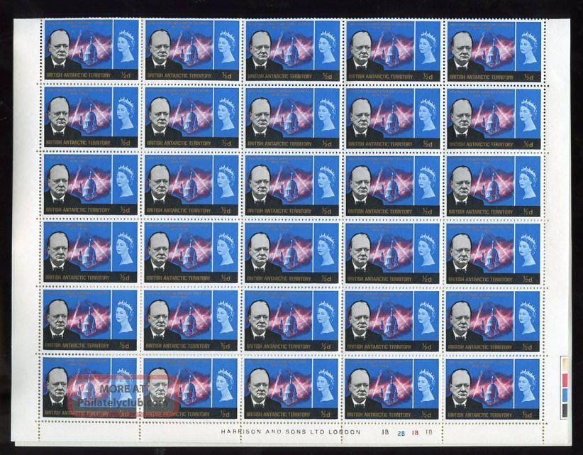 Brit.  Antarctic 1966 Churchill 1/2d Sheet Cv£48 British Colonies & Territories photo
