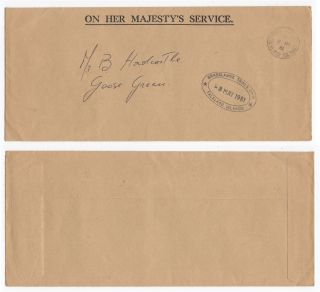 1981 Falkland Islands Ohms Qeii Cover Pre - War Port Stanley To Goose Green photo
