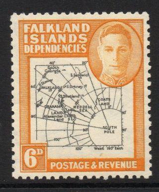 Falkland Is.  Dep.  Sgg6e 1946 6d Black & Ochre photo
