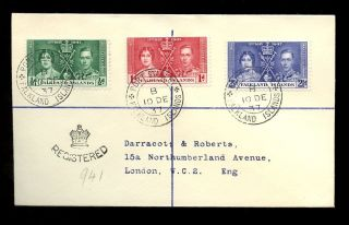 Falkland Islands 1937 Coronation Registered Last Day Cover. . .  Darracott + Roberts photo