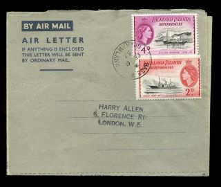 Falkland Islands Dependencies 1957 Grahamland Aerogramme 4d + 2d Base W Postmark photo