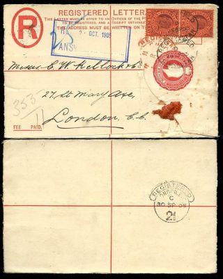 Gibraltar Ke7 Registered Stationery 1905 2d + 2d To Kellock + Co photo