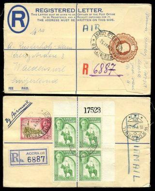 Gold Coast Kg6 1952 Registered Stationery + 2/ - + Sheet Number Block 1/2d Horse photo