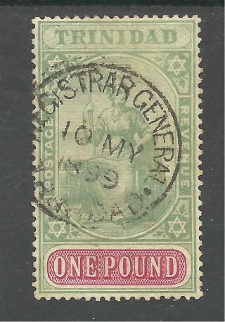 Trinidad Sg124 The 1896 - 1906 Victorian £1 Grn&carmine Fine.  £275 As Postal photo